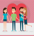 group of lovers couples with heart vector image