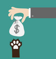 hand golding money bag with dollar sign dog cat vector image vector image