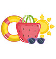 handbag female with sunglasses and float lifeguard vector image