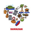 hawaiian symbols travel to hawaii food nature and vector image