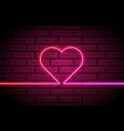 heart shape neon light one line bright light vector image vector image