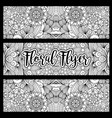 horizontal floral flyer with handdrawn pattern vector image vector image
