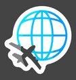 icon airplane flying around globe colored vector image vector image