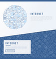internet concept in circle with thin line icons vector image vector image