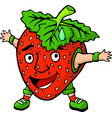 isolated cartoon happy strawberry with funny face vector image vector image