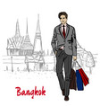 man near grand palace and wat prakeaw vector image