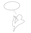 man with cigarette and cloud for text vector image vector image