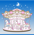 merry go round with horses over blue night sky vector image