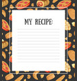 my recipe blank card template with fresh baking vector image vector image