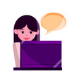 online activities character female with laptop vector image vector image