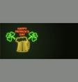 patricks day neon sign and green brick wall vector image