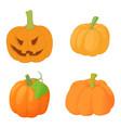 pumpkin icon set cartoon style vector image vector image