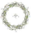 round floral garland with iris flowers decoration vector image