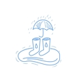 Rubber Boots Puddle And Umbrella vector image
