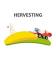 rural summer landscape with red combine harvester vector image