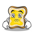 sad face bread character cartoon vector image vector image