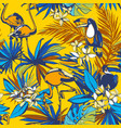 seamless pattern tropical palm leaves flowers vector image