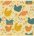 seamless spring pattern with cute chickens vector image vector image