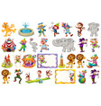 set differnt circus objects and animals vector image vector image