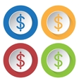 set of four icons - dollar currency symbol vector image vector image