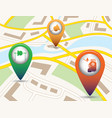 set of tourism service map pointers on map vector image