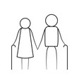 sketch thin contour of pictogram elderly couple vector image vector image
