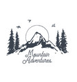 sunrise mountains logotype vintage nature a vector image