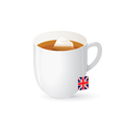 Tea bag in white cup vector image vector image