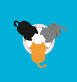 three kittens eating drinking milk from plate vector image