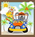vacation with giraffe and elephant cartoon vector image vector image