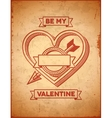 Valentines Day card with heart and cupids arrow vector image vector image