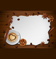vintage frame cinnamonbiscuit on wooden table vector image