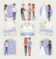 welcome to our wedding isolated set vector image