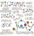 words with flower letters vector image vector image