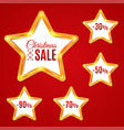 abstract glow golden star frame sale set vector image