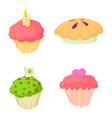 cupcake icon set cartoon style vector image