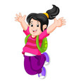 happy girl with backpack on her back vector image