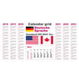 american calendar standard us deutsch german vector image vector image