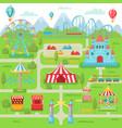 amusement park map family entertainment festival vector image vector image
