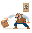 angry cowboy bandit smash everything around old vector image vector image