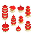 asian architecture building sign 3d icon set vector image vector image