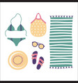 beach set clothes and accessories isolated on vector image