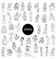 black and white people characters big set vector image vector image