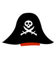 black pirate hat on white background vector image