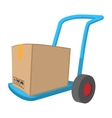 Blue hand cart with cardboard box cartoon icon vector image vector image
