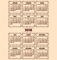 calendar grid for 2018 year vector image