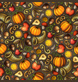 cartoon cute hand drawn thanksgiving seamless vector image vector image