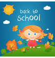 cartoon happy little girl in autumn landscape vector image vector image