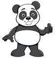 Cartoon panda bear giving thumbs up vector image vector image