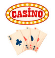 casino playing cards and frame banner with bulbs vector image vector image